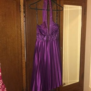 Purple pleated halter dress